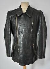 Vtg 40s WW2 GERMAN Green Horsehide Leather Luftwaffe Flight Jacket Coat Biker 40