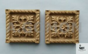 Wooden wood carved Corner block,finishing block,set of 2 pc,square rosette,oak
