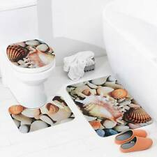 3Pcs Non-slip Soft Bath Pedestal Mat Toilet Lid Carpet Bathroom Washable Rug Set