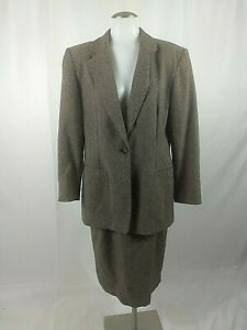 Vintage Pendleton Womens Full Suit Blazer Skirt Size 12 Lambswool Career C/715