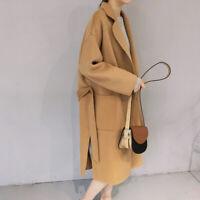 Winter Womens Lapel Wool Blend Belt Jacket Long Coat Oversize New Trench Outwear