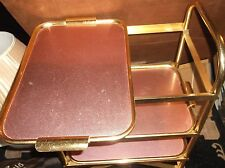 VINTAGE RETRO GOLD & ROSE TONE THREE TRAY TROLLEY ON WHEELS WITH SIDE HANDLE