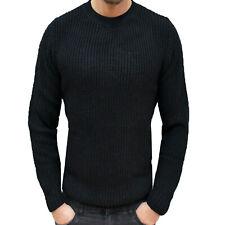 Maglione Uomo Slim Fit Pullover girocollo Casual Maglia lana pesante Vari colori