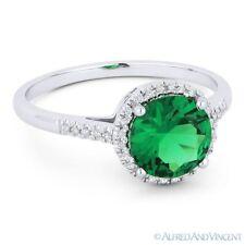 1.19 ct Lab-Made Emerald & Diamond Halo 14k White Gold Promise Anniversary Ring