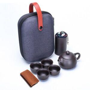 Portable Travel Tea Set Purple Clay Kung Fu Teaset Chinese Ceramic TeaPot 4 Cups