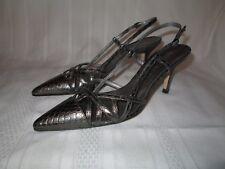 Anne Klein Womens 6.5 Narrow Silver Snakeskin Slingback Mules Pumps Heels Shoes