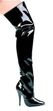 "ELLIE Women's SUSIE 5"" High Heel 10M Thigh High PATENT LEATHER Boots BLACK"
