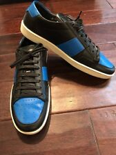 YSL Leather Low Top Sneakers , Black/Blue Size 45 EU 12 US Retails $495