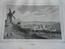 Gravure sur acier 1838 - Vue d'Aix Dpt Bouches du Rhone