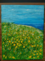 Abstract Meadow Flowers Original Acrylic Painting Floral Art Hand Painted Meadow