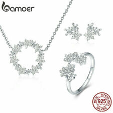 BAMOER Gypsophila Women Clear CZ Jewelry Sets S925 silver Necklace Ring Earrings