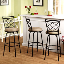 Bar Stools Swivel Counter Chairs w/ Back Kitchen High Seat Furniture Set of 3