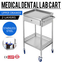 2 Layers Medical Serving Trolley Drawer Dental Lab Cart Stainless Steel BIN