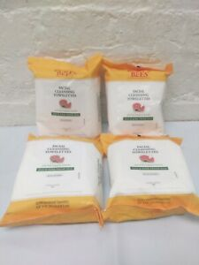 Lot Of 4 Burt's Bees Facial Cleansing Wipes for Oily & Acne Prone Skin 30ct Each