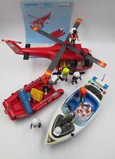 Playmobil 4428 (helicóptero y lancha) + Motora de policía y muñecos extra