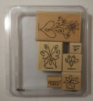Stampin' Up! MERCI  6pc Wood Mounted Rubber Stamps - Gently Used