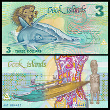 Cook Islands 3 Dollars, 1987, P-3, A-UNC,with oxide spot