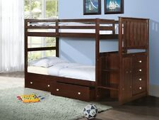Wooden Bunk Beds with Stairs & Storage