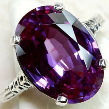 925 Silver Amethyst Color Changing Alexandrite Gemstone Rings Jewelry Hot Size 7