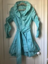 Samuel Dong Coat Jacket Ruffled Pleated Belted Teal Shimmer Dress Coat