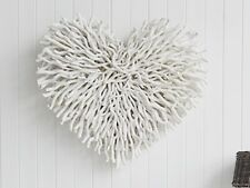 New Large Chunky Heart Wicker Twig Wall Hanging White Decoration