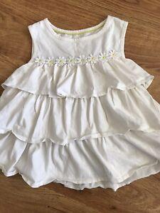 Mini Boden Girl's White Daisy Flower Sleeveless Top 7-8 years