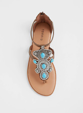 Torrid Brown Turquoise Stone T-Strap Sandal Wide Width Size: 10 #89212