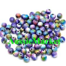 50 x stardust beads acrylic round multi colour necklace bracelet jewellery 8mm