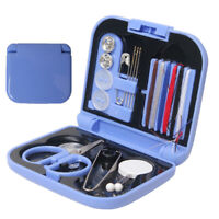 Travel Sewing Kit Thread Needles Mini Case Plastic Scissors Tape Pins Portable