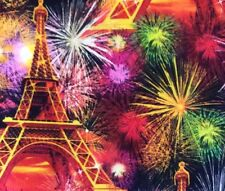 TT76 Paris Fireworks Holiday Eiffel Tower Celebration Quilting Cotton Fabric