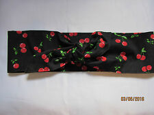 CHERRY CHERRIES BLACK  ROCKABILLY 1950'S VINTAGE STYLE LOOK HEADSCARF HAIR WRAP