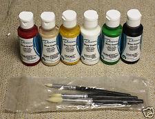 Christmas Ceramic Paint Kit Duncan 6 Acrylic 2oz Bottles 3 Brushes POHC 1001
