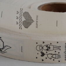 Cotton Fabric Ribbon Sewing Label - Hearts Letter Love