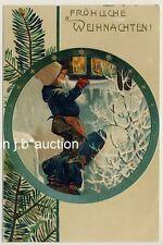 WEIHNACHTEN ZWERGE / CHRISTMAS DWARFS * Vintage Embossed PC 1900 AK Präge-Litho