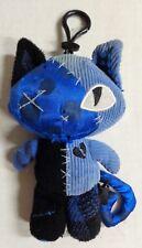"Emily the Strange Miles Black Blue Cat Plush Keychain 6"""