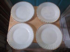 Four Anchor Hocking Fire-King Swirl Golden Anniversary Milk Glass Dinner Plates