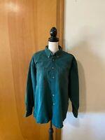 Sears Roebuck Co Men Green Long Sleeve Cotton Twill Chino Button Work Shirt Vtg