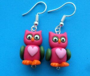 Fun Handmade Fimo Pink / Green Owl Earrings Cute Wildlife Country Bird Animal