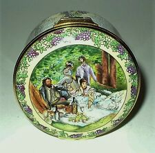 HALCYON DAYS ENAMEL BOX- CLARET WINE - MONET PAINTING - VINES OF GRAPES & LEAVES