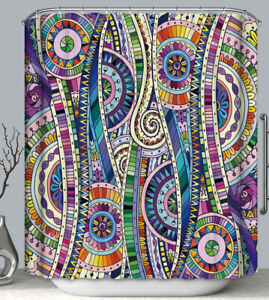 Psychedelic Art Fabric SHOWER CURTAIN 70x70 w.Hooks Colorful Design Modern