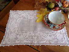 Rustic Antique Italian Handmade Lace Drawn Thread Embroidery Placemat or Doily