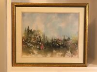 CHARLENE CAWLEY Watercolor Print Vintage ART Matted Framed impressionist