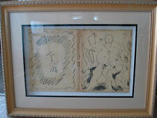 """pablo picasso,dust jacket,front and back cover """"lithograph III"""" book.1956,framed"""