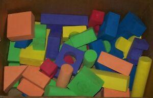 50 Foam Building Blocks Activity Kids Toy Waterproof Multi Size Color