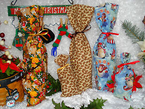Fabric Wine Bottle and/or Gift/Treat Favor Bags w/Ties Christmas Holiday Winter