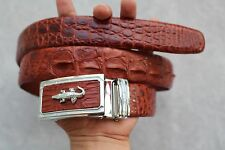 Red Brown Genuine Alligator, Crocodile Leather Skin Men's Belt #TL0426