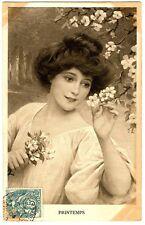 CPA fantaisie Portraits femmes série de 4 cartes Les Saisons fantasy postcard