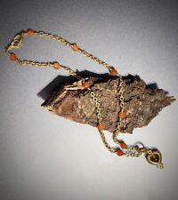 Loree Rodkin 18K Yellow Gold Diamond Fire Opal Citrine Heart Cabochon Necklace