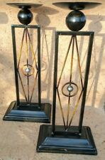 Set of 2 X LARGE Candle Holder - metal rustic gold brown home decor RRP$69.95ea!