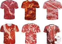 Funny Meat 3D T-shirt Graphic Print New Red Tee Men Women Fashion Size S - 7XL
